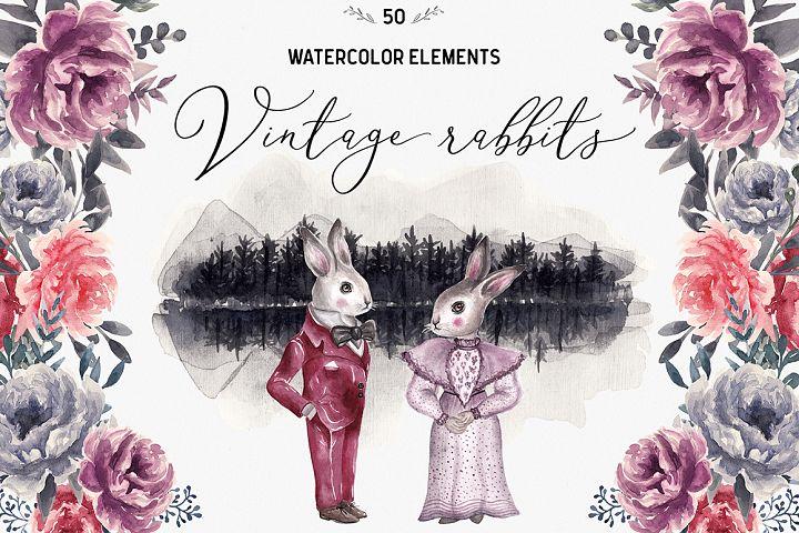 Spring Vintage Wedding Watercolor Rabbits