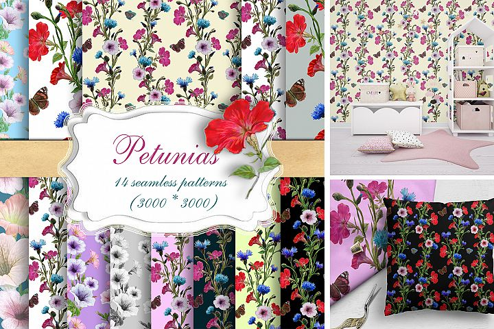 Petunia flowers, Cornflowers Digital Paper Seamless Pattern,