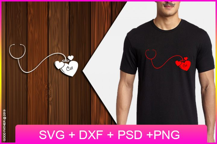 Stethoscope love my cat SVG, Cut Files, EPS, PNG, DXF