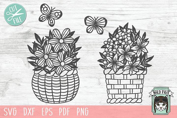 Flower Baskets SVG file, Basket cut file, Easter Basket