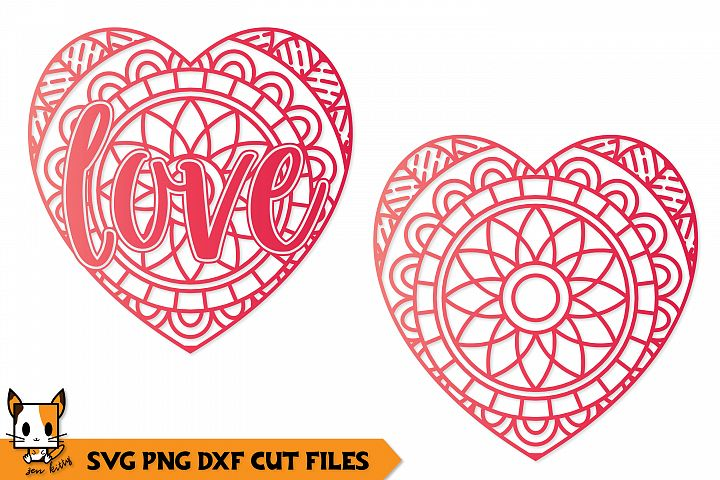 Love Christmas Ornament - Mandala SVG PNG DXF Cut Files