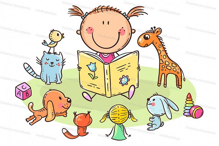 Little girl reading to toys or playing school