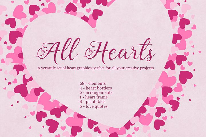 All Hearts Clipart Set