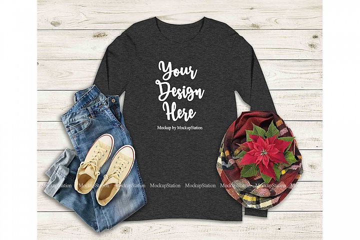 Bella Canvas 3501 Dark Grey Heather Long Sleeve Shirt Mockup
