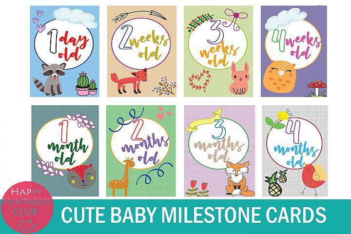 18 Cute Baby Milestone Cards-Baby Milestone Printables
