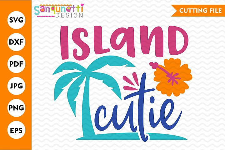 Island cutie summer tropical SVG, palm tree and hibiscus