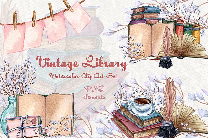 Vintage Library. Watercolor Clap-Art Set