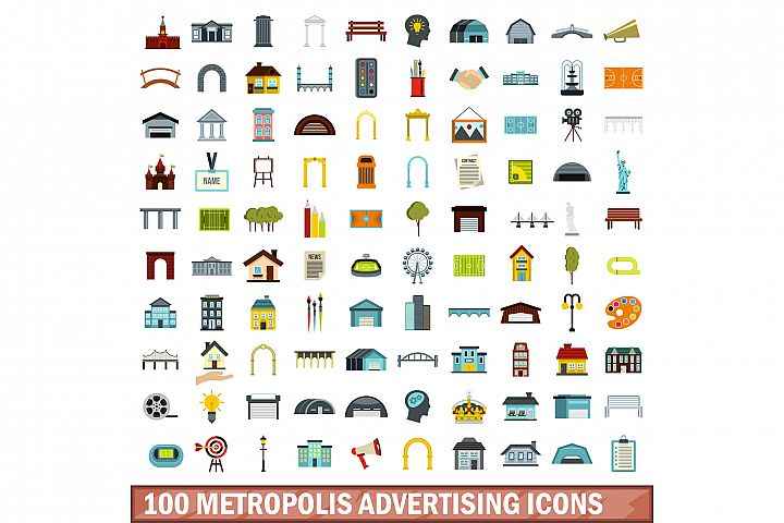 100 metropolis advertising icons set, flat style