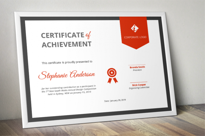 Ribbon Modern Word Event Certificate Template