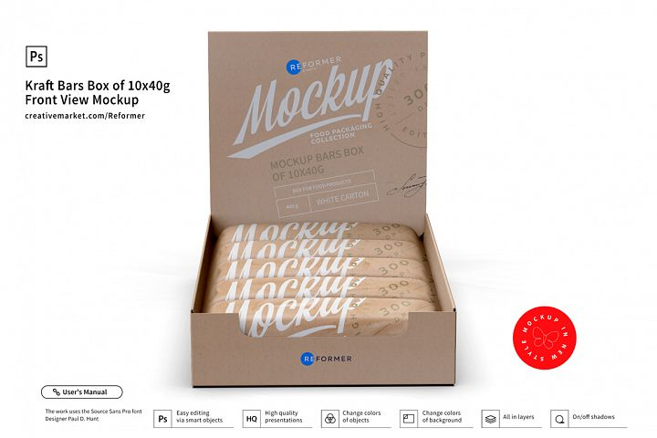 Kraft Bars Box of 10x40g Front View Mockup