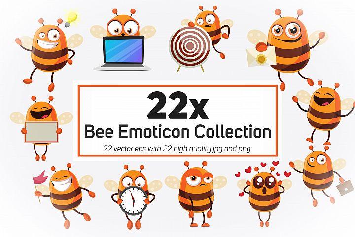 22x Bee Emoticon Collection illustration.