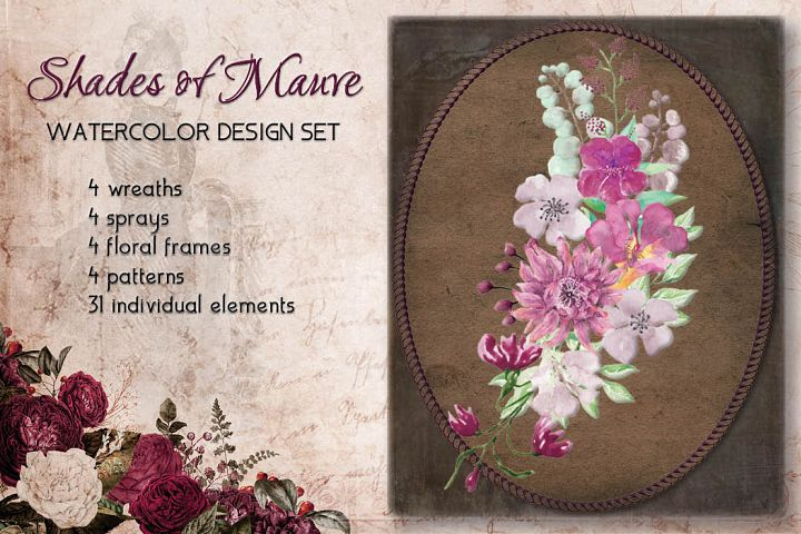 Shades of Mauve watercolor design set