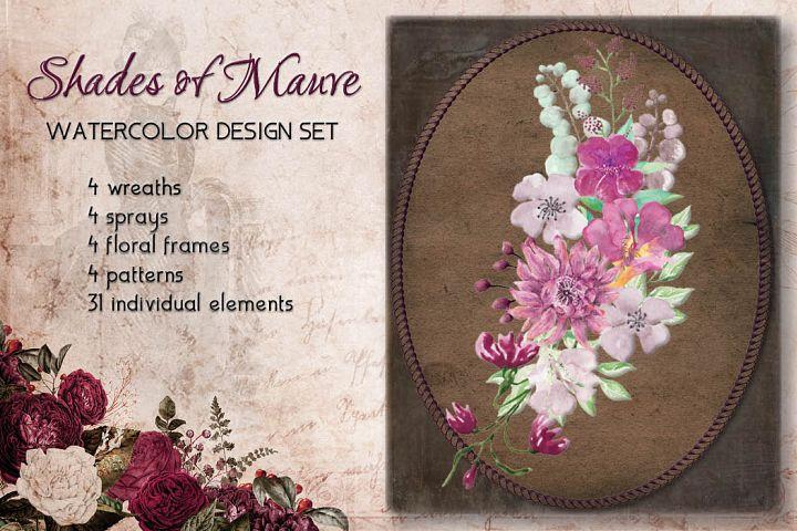 Shades of Mauve watercolor design set