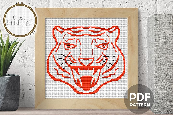 Roaring Tiger Head Cross Stitch Pattern - Instant Download