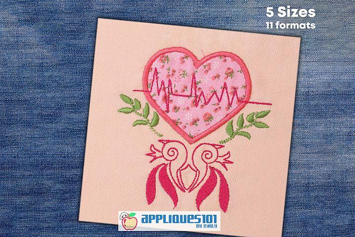 Heart Lifeline Machine Embroidery Applique Design - Hearts
