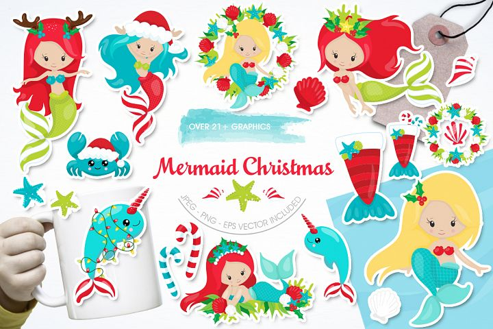 Mermaid Christmas graphic and illustrations