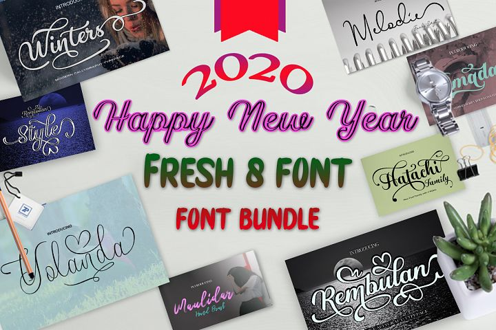 Fresh Bundles Font Script Happy New Year