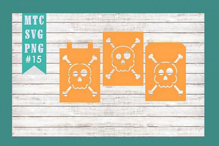 Banner Bunting Skull Crossbones Design #15 SVG Cut File