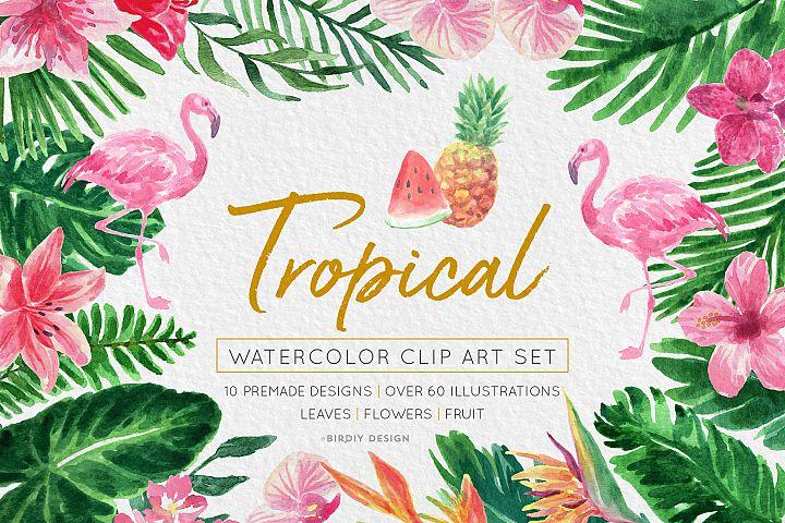 Tropical Watercolor Florals Set
