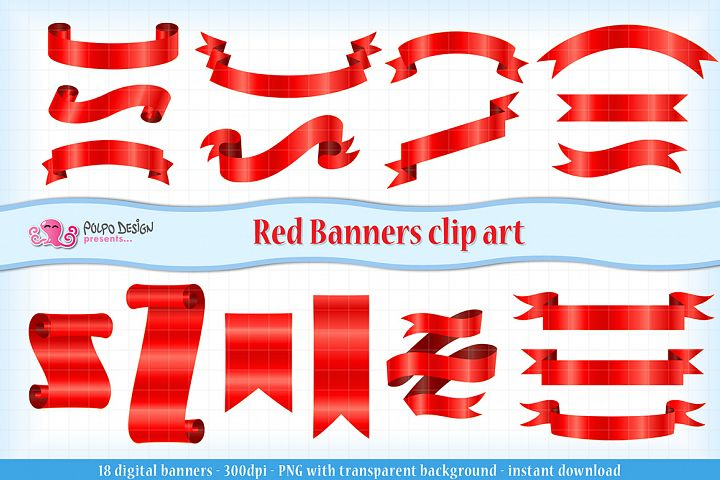 Red Banners clip art.