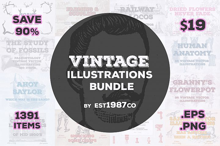 Vintage Vector Illustrations Bundle 1391 Items