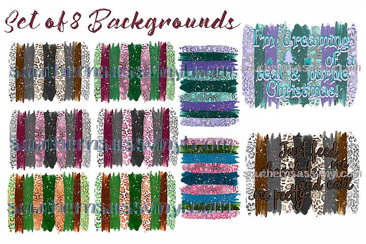 Leopard Print Background Collection Set of 8- Clipart Design