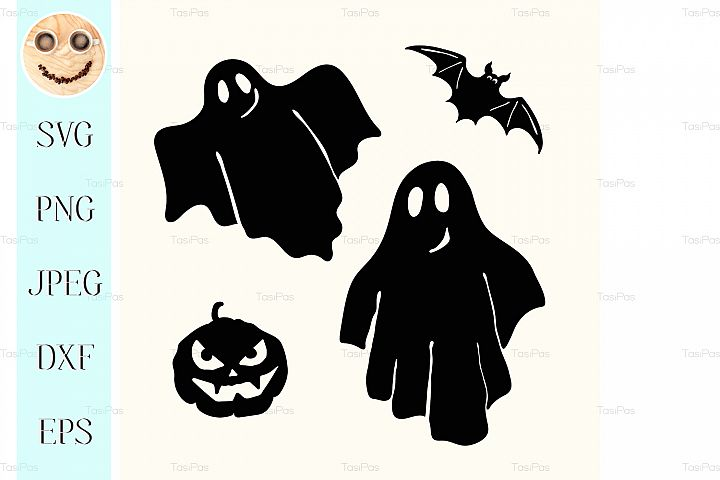 Black ghost, pumpkin lantern and bat stencil on white