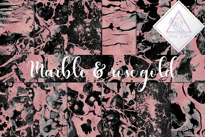 Black Marble & Rose Gold Digital Paper