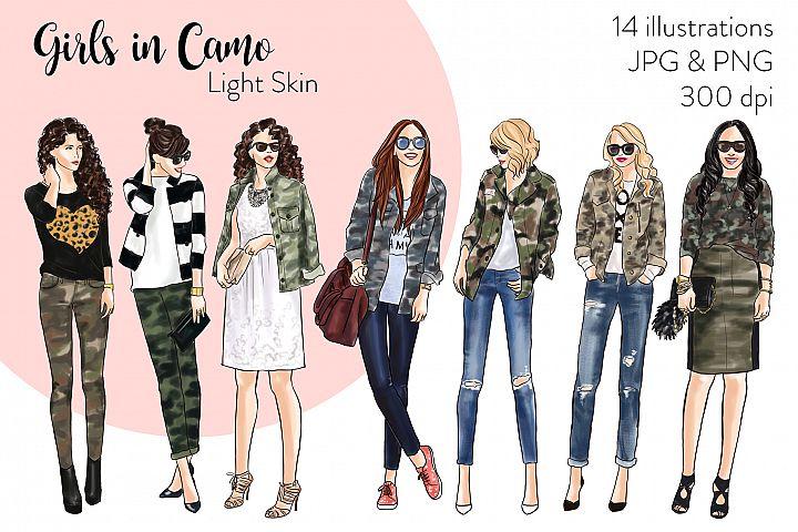 Fashion illustration clipart - Girls in Camo - Light Skin