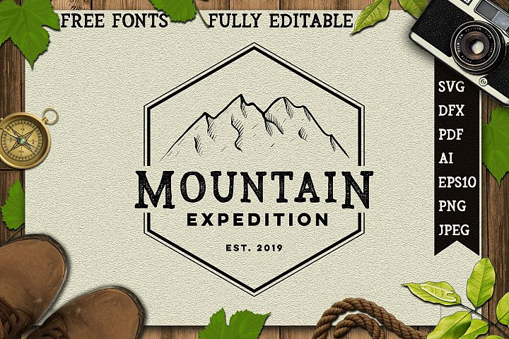 vintage hand drawing mountain logo