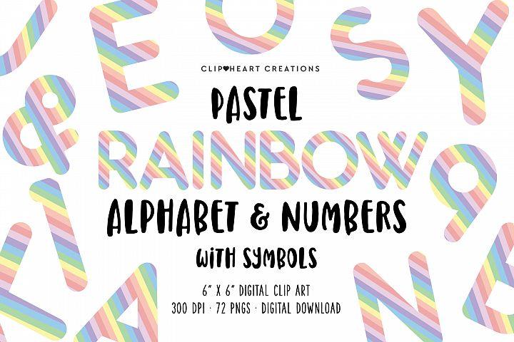 Pastel Rainbow Alphabet & Numbers with Symbols