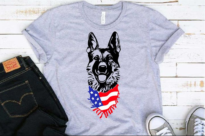 German shepherd dog head whit Scarf US flag SVG 1277s