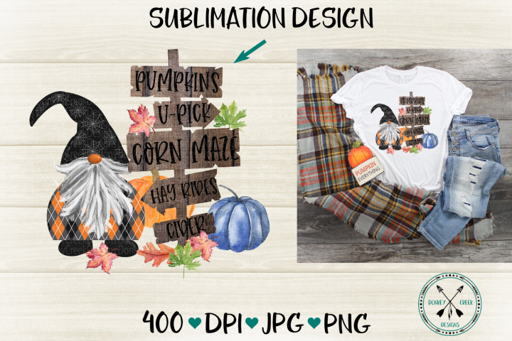 Halloween Gnome Hand Drawn Pumpkin Patch Sublimation Design
