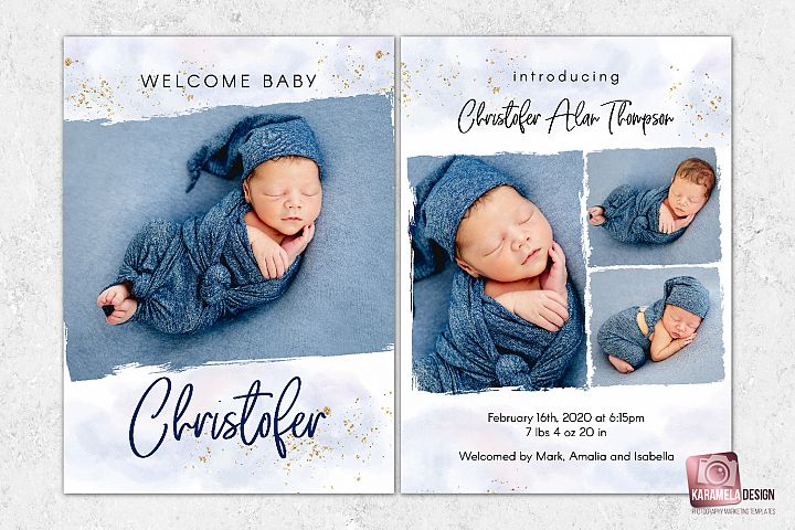 Baby Boy Announcement Template for Photographers