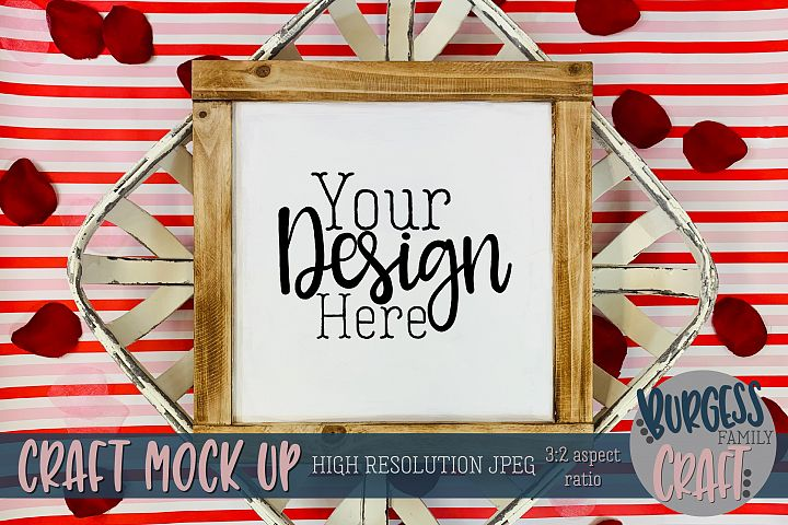 Valentine square wood sign stripes Craft mock up