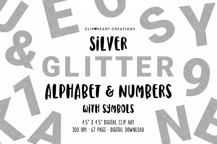 Silver Glitter Alphabet & Numbers with Symbols