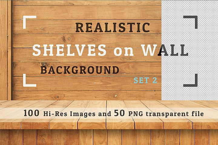 100 Realistic Shelves on Wall. Set 2