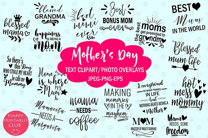 Mothers Day Text Clipart-Photo Overlays-Word Art Graphics