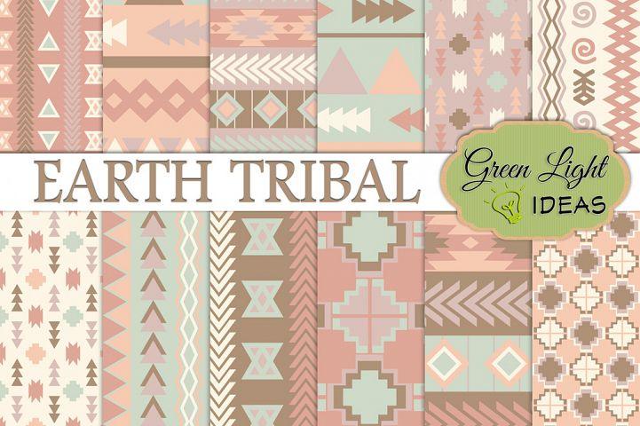 Earth Tribal Digital Papers, Aztec Backgrounds