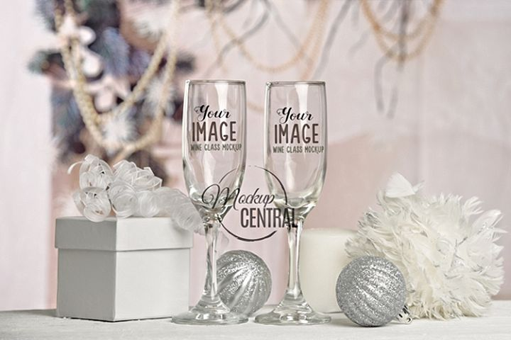 Christmas Long Stem Wine Glass Mock Up, Love Glasses Mockup