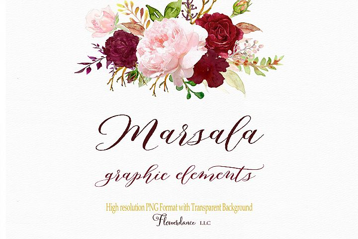 Watercolor Clipart Elements Marsala and Blush