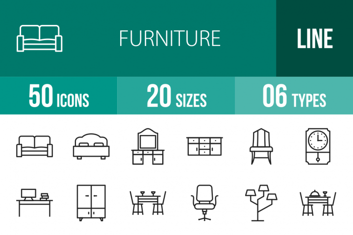 50 Furniture Line Icons Season II