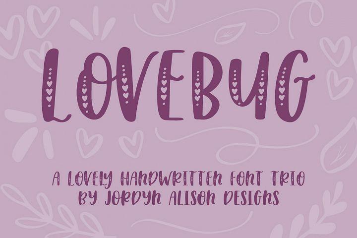 Lovebug Hand Lettered Font Trio, Valentines Heart Font