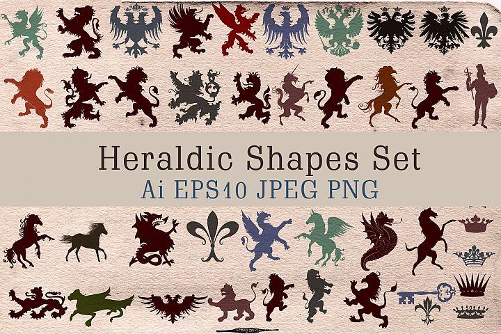 Vector heraldic shapes set, 52 element