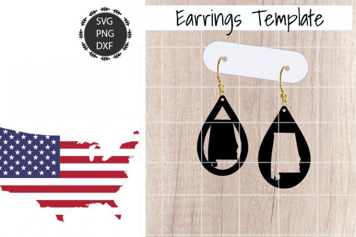 Earrings Template - Alabama Teardrop Earrings Svg