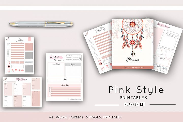 Pink Daily Planner Printable, Productivity planner