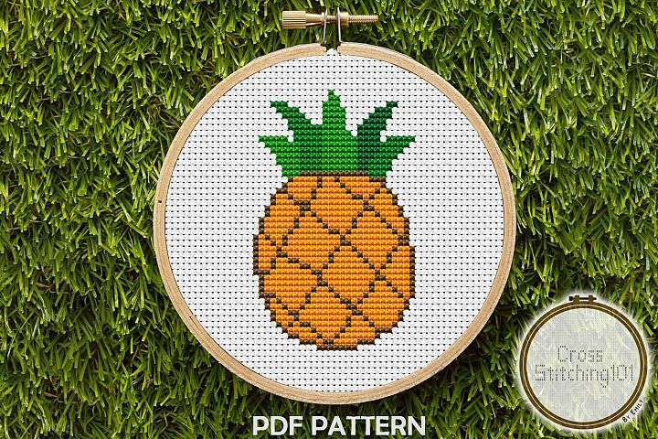 Pineapple Fruit Cross Stitch Pattern - Instant Download PDF