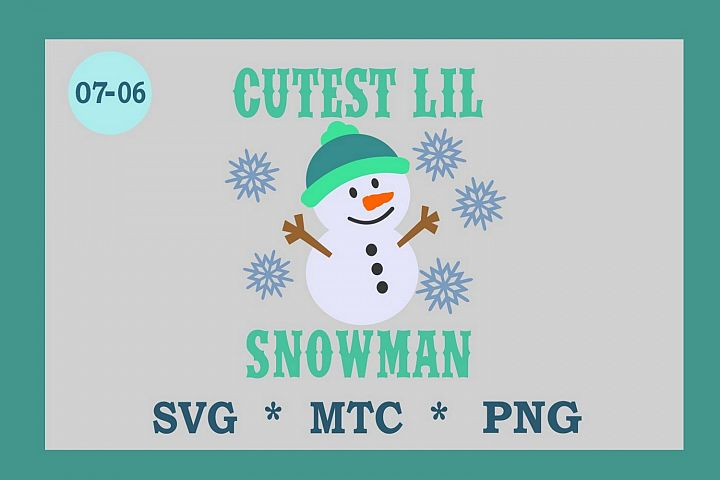 Cutest Lil Snowman with Hat Design #7-06 Winter SVG Cut File