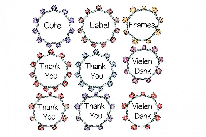 Hand Drawn Doodle Flower Label Frames