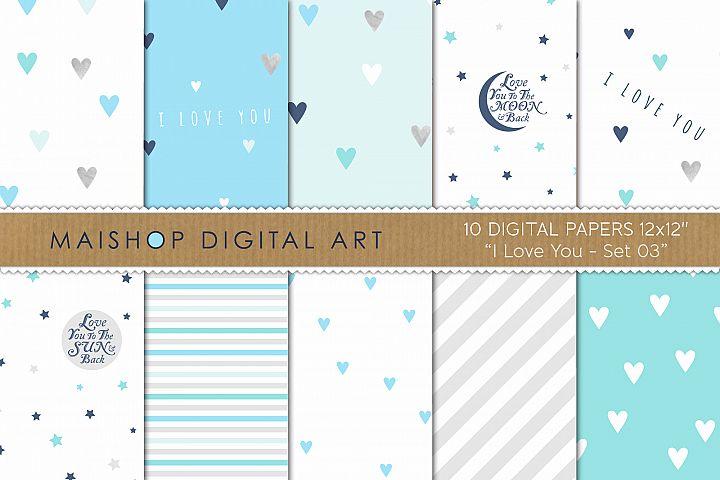 Printable Digital Paper Pack - I love You Set 03